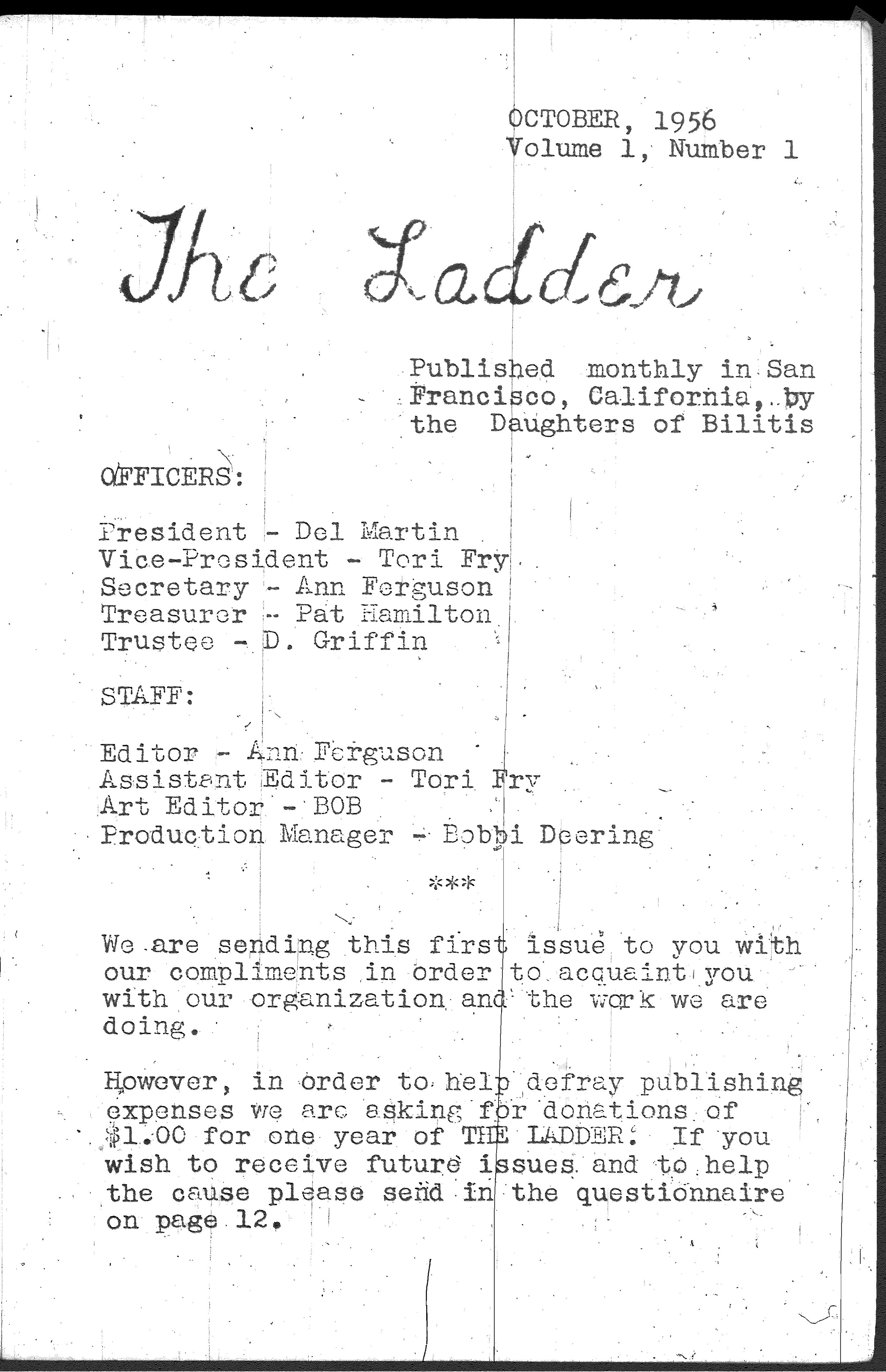 The Ladder, October 1956, Vol  1, No  1 | Alexander Street